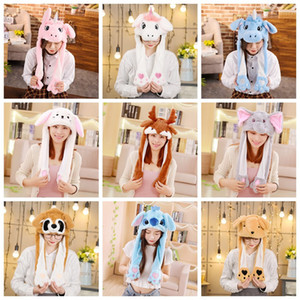 Wholesale Ear Moving Hat Kids Baby Cartoon Plush Lovely Cap Halloween Party Christmas Masquerade Carnival Cap Women Men Hat Decoration HHA490