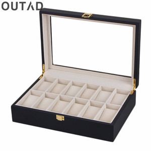 Wholesale 12 Grids Watch Box Black MaWooden Watches Wider Jewelry storage Organizer Case Fashion Storage Boxes Holder