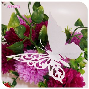 Wholesale Butterfly Shape Cup Wine Glass Card Name Place Cards Laser Cut Wedding Decoration Birthday Bridal Favors Party Supplies5Z