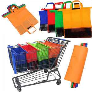 Wholesale Cart Trolley Shopping Supermarket Bag Grocery Grab Shopping Foldable Bags Tote Eco friendly Reusable Supermarket Bags set