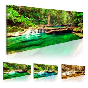 Wholesale forest impressionist painting for sale - Group buy Limpid Water of the Forest Canvas Print Painting Scenery Home Decoration Wall Pictures for Living Room Wall Art on Canvas