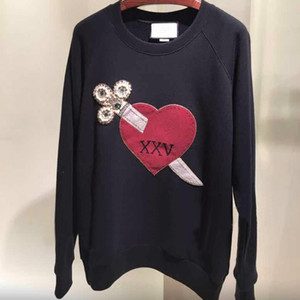 Wholesale Fashion Shipping Blue Black Heart Embroidery Pearls Jacquard Pullovers Women Brand Same Style blusas de inverno feminina DH0116