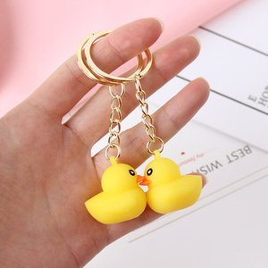 Wholesale Cute Cartoon Yellow Duck Keychain Lovely Cartoon Animal Bag Hanging Pendant Men Women Kids Car Keyring