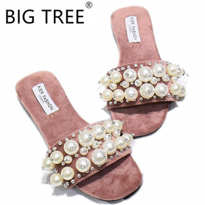 Wholesale New Women Pearl Beach Shoes Flat Woman Sandals Summer Woman Shoes Lady Fashion Slippers Luxury Shoe Women Designers Slipper
