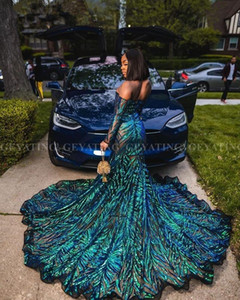 Wholesale sparkling black prom dresses resale online - Emerald Green Off Shoulder Mermaid Long Sleeve Prom Dress for Black Girls Sparkle Long Train African Graduation evening gowns