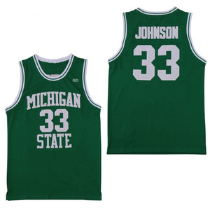 new york state  großhandel-NCAA Michigan State Spartans Earvin Johnson Magic LA Grüner Bundesstaat New York State College Larry Bird Basketball Jersey genähte Hemden