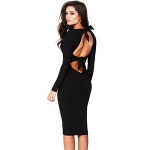 Wholesale Sexy Women Bodycon Dress Cut Out Bandage Deep V Neck Long Sleeve Dress Female Backless Party Club Slim Midi Pencil Dresses