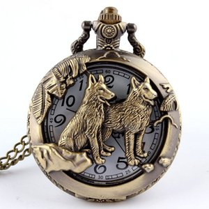 Wholesale Bronze Wolf Hollow Quartz Pocket Watch Necklace Pendant Women Men s Gifts P256