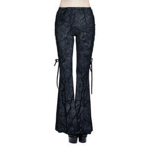 Wholesale Punk Women s Bell bottom Trousers Gothic Branch Printed Stretch Flare Pants Lace up Slim Fit Bodycon Pants