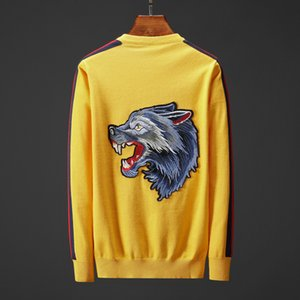 Wholesale Men s Designer Sweater Brand Sweater with Tiger Wolf Embroidery Men Long sleeved Top Solid Color Yellow Blue Size M XL