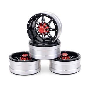 4Pcs Rc Rock Crawler Wheel Rim 1.9 Inch Beadlock For 1 10 Axial Scx10 90046 Tamiya Cc01 D90 D110 Tf2 Traxxas Trx-4(Red)