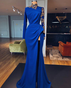 Wholesale Royal Blue Luxury Gold Detail Prom Dresses with High Slit 2020 High Neck Arabic Dubai Long Sleeve Stain Occasion Evening Gowns