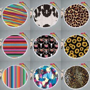 Sunflower beach towel microfiber leopard beach blankets tassel wall hanging tapestries picnic rugs women shawl yoga mats 9 designs DHW3484