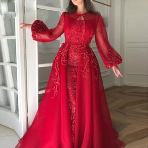 Wholesale Designer Red Sheath Prom Dresses with Jacket Spaghetti Strap Lace Appliques Beading Abric Dubai Evening Gowns Celebrity Dress