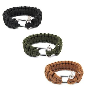 Wholesale Outdoor Camping Paracord Bracelets For Men Women Parachute Rope U Clasp Survival Bracelet Homme Handmade Braided Jewelry
