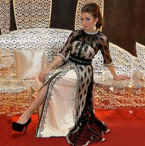 Wholesale 2019 Black Lace Kaftan Evening Dresses with half Sleeves Beaded Crystal Caftan Dubai Arabia Prom Gowns Long vestido longo Party Wear