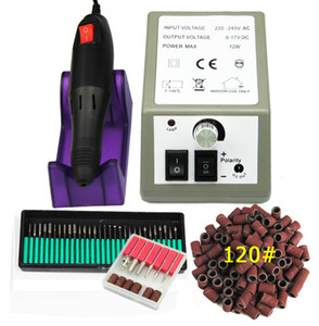 "Professional Electric Nail Drill Machine Set Nail Art File 36 Bits 120"" Sanding Band Acrylic Nail Art Equipment Tool Cutter kit"