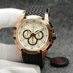 Wholesale chrono chronograph resale online - Men Wristwatches MM Quartz Chrono Superfast White Dial Rubber Strap Mens Watch Watches Stainless Steel Gold Case