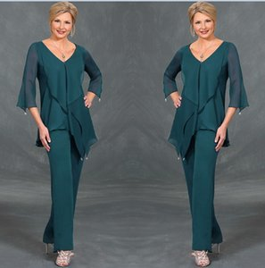 Wholesale Dark Green Chiffon Mother Of The Bride Suits Pants V Neck Long Sleeves Irregular Plus Size Floor Length Mothers Suits Custom Made