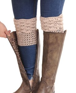 Wholesale Winter Vintage Crochet Support Stockings Colors Ladies Solid Color Leg Warmer Women Boot Socks Pairs ePacket