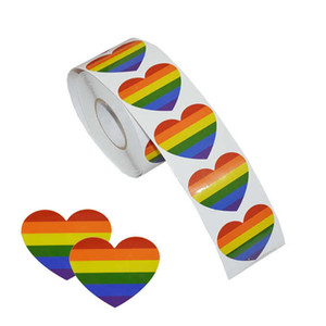 Wholesale Heart Shaped Stickers Gay Pride Rainbow Heart Sticker For Gifts Crafts Envelope Sealing Car Styling qt F1