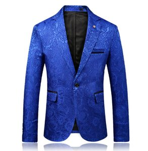 Wholesale Korean casual suits men blazer masculino slim fit casaco jaqueta masculina coats mens jacket black blue