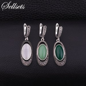 Wholesale Dangle Earrings Sellsets Vintage Silver Color Oval Long Earring Pave Black Rhinestone And Resin Opal Dangle Drop Earrings Women Jewelry G