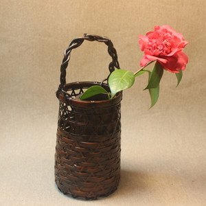 Wholesale vase bamboo resale online - Flower pot bamboo vase woven retro plant holder vintage home decorative accessories handmade art crafts eco friendly
