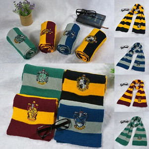 Harry Potter College Scarf Gryffindor Slytherin Hufflepuff Ravenclaw Knitted Neckscarf With Badge Cosplay Scarves Party Favor ZZA1272 300pcs