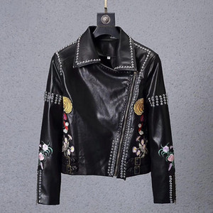 Wholesale Metal rivet Pu men skulls Faux Leather jacket hip hop Casual coat High Quality mens luxury Fitness clothing Outerwear & Coats male M-3XL