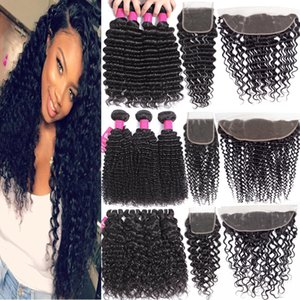 9A Brazilian Deep Wave Bundles With Closure Hair Bundles With 4x4 Closure Or 13X4 Lace Frontal Closure Unprocessed Human Hair Weaves Bundles