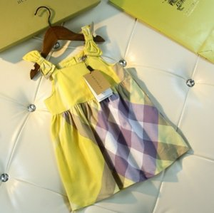 Wholesale Girls dresses kids designer clothing summer cotton fabric dress style bow tie belt girls dress yellow color