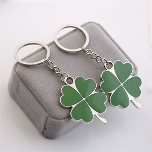 Wholesale Four Leaf Clover Keychain Stainless Steel Key Ring Lucky Car Key Chain Creative Fashion Holder Bag Pendant Charm Key Jewelry