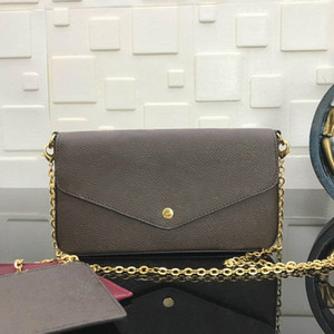 Wholesale vintage leather knitting bag resale online - with box brand vintage designer hobo women shoulder bag silver chain bag Tote clutchbag handbag POCHETTE FeLICIE with removable chain M61276