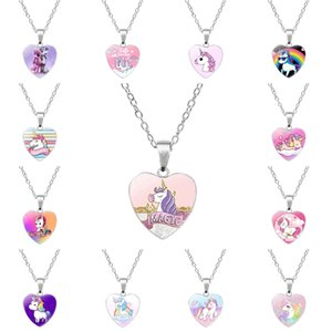Wholesale 2019 Animal Unicorn Necklace Love Heart Pendant Baby Girl Charm Jewelry Cartoon Necklaces Metal Fashion Accessories Children Best Gift M110F