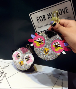 Wholesale Keychain Cute Diamond Love Bird Coin Purse Creative Cartoon Old Flower Bag Key chain Ornament Female Car Keychains MA25A