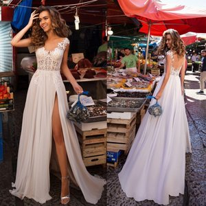 Wholesale 2020 Sexy Bohemian Lace V Neck A Line Wedding Dresses Customized Tulle Front Split Bridal Gown Robe de Mariee Country Wedding Dress