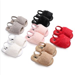 Wholesale Cute Newborn Baby Girl Princess Fluffy Fur Sandals Slippers Crib Shoes M