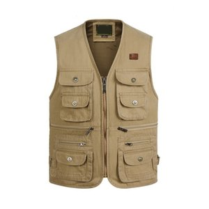 Wholesale Men Multi Pocket Waistcoat Fishing Vest Casual Fishing Vest Cotton Breathable Material Hunting Hiking Outdoor Jacket GA134