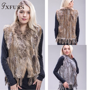 Fxfurs 2019 Genuine Knitted Waistcoat Colorful Rabbit Raccoon Fur Sweater Vest 16 ColorsMX190821