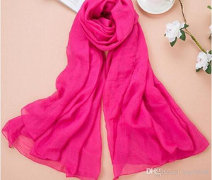 Wholesale The new Korean version of the fashionable Chiffon beach towel silk scarf pure color large scarf sunscreen shawl L937