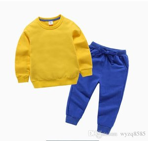 11 sweater suit boys bottoming shirt girls solid color fashion round neck design embroidery pattern spring and autumn new 1T--8T colo