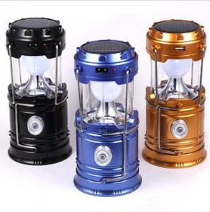 Wholesale Solar Lamps LED Camping Lantern Outdoor Solar Lights Camping Hiking Super Bright Lamp New Style Portable Collapsible Lights Outdoor LT731