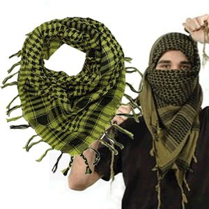 Wholesale Windproof Winter Scarf Men Muslim Hijab Thin Shemagh Tactical Shawl Arabic Keffiyeh Scarves Cotton Fashion Yellow