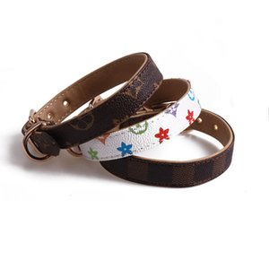 Pets Collars Classic Pattern PU Leather Fashion Adjustable Famous Pet Dogs Cats Leashes Outdoor Personality Cute Pet Collar