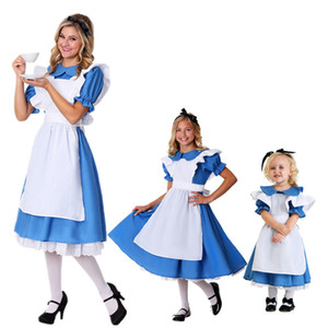 Wholesale Halloween Children Girl Anime Alice In Wonderland Blue Party Dress Alice Dream Adult Women Sissy Maid Lolita Cosplay Costume