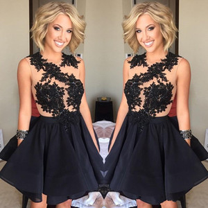 Wholesale 2019 New Design Black Short Prom Dresses Illusion Back A Line Homecoming Dresses Sleeveless with Lace Appliques Cocktail Party Dresses A122