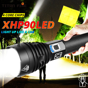 Super Powerful XHP90 LED Flashlight LED Torch USB Lamp Zoom Tactical Torch 18650 26650 Rechargeable Battey