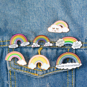 Wholesale Rainbow Toys Art Girls Design Cartoon Brooch Pin Badge Enamel Fruit Animals Skull Brooch Alloy Backpack Badge Pins Jewelry For Gift WT8232