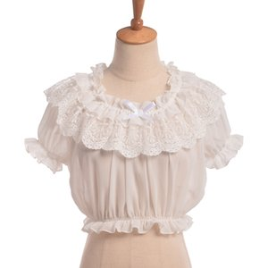 Women Crop Top Lolita Frilly Chiffon  Black Puff Sleeve Lace Bottoming Undershirt blouse white